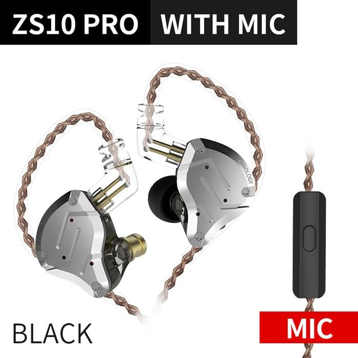 KZ ZS10 Pro Aptx HD Cable In Ear Hybrid 4BA+1DD Hifi Bass Earphones HiFiGo ZS10 For Black Mic