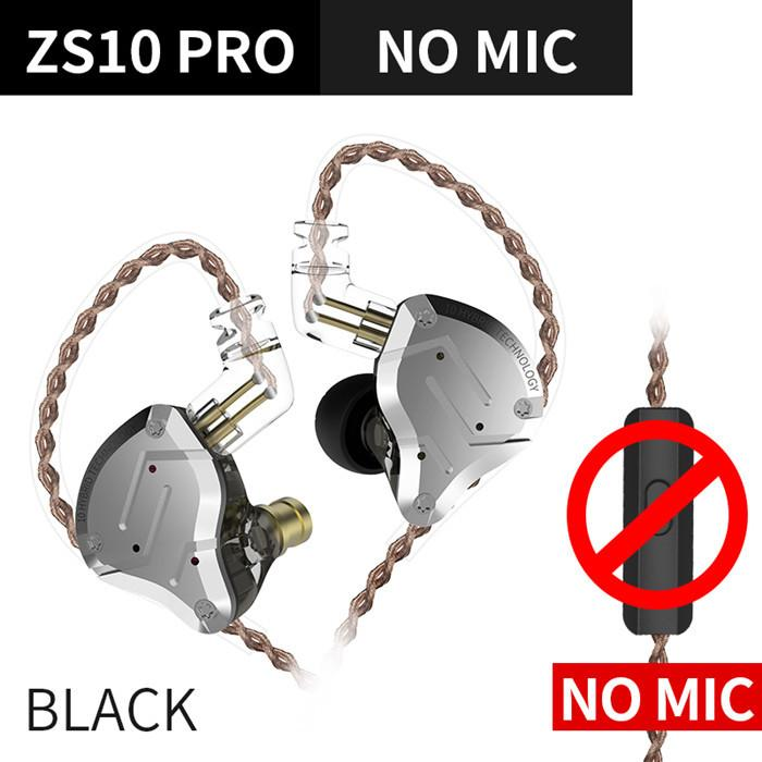 KZ ZS10 Pro Aptx HD Cable In Ear Hybrid 4BA+1DD Hifi Bass Earphones HiFiGo ZS10 Pro Black NoMic
