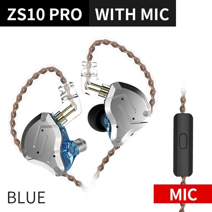 KZ ZS10 Pro Aptx HD Cable In Ear Hybrid 4BA+1DD Hifi Bass Earphones HiFiGo ZS10 Pro Blue Mic