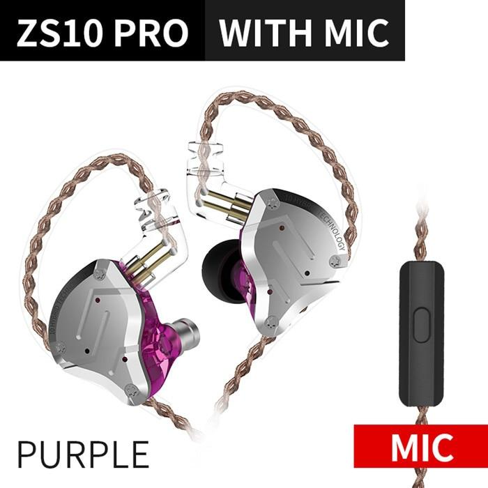 KZ ZS10 Pro Aptx HD Cable In Ear Hybrid 4BA+1DD Hifi Bass Earphones HiFiGo ZS10 Pro Purple Mic
