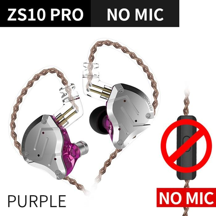 KZ ZS10 Pro Aptx HD Cable In Ear Hybrid 4BA+1DD Hifi Bass Earphones HiFiGo ZS10Pro Purple NoMic