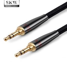 SKW AUX 3.5mm Jack Cable Male To Male For Soundbox Headphone Smartphone Ipad Laptop MP3 CD Car HiFiGo BK-doubt straight 3m