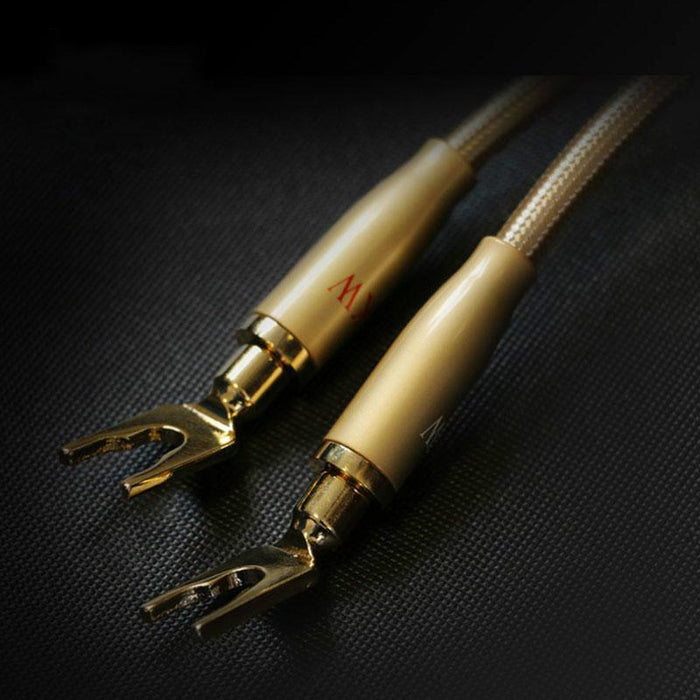 SKW HIFI Audio Cable 6N OCC Spade+Banana Terminal Audiophile Speaker Cord for HIFI Amplifier Home Theater 1 Pair Audio Cable HiFiGo
