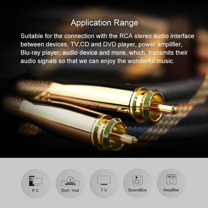 SKW RCA Audio Cable Male To Male Subwoofer Digital Coaxial 6N OCC for Car Subwoofer Amplifier HiFiGo