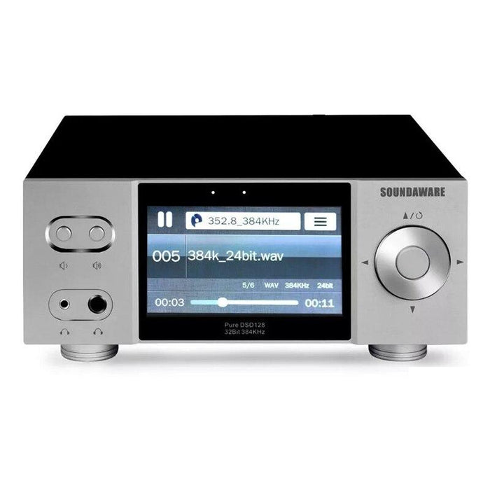 Soundaware A1 Streaming Desktop Network Player Digital Turntable Decoding Amplifier HiFiGo Silver