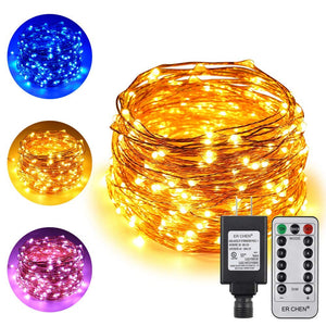 Dual-Color LED String Lights ER CHEN , 66 FT 200 LEDs Plug in Copper Wire
