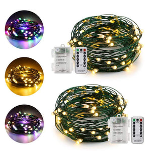 Dual-Color Battery Operated Led String Lights (Warm White/Multicolor), 2Pack 16 Ft 50 Leds ER CHEN