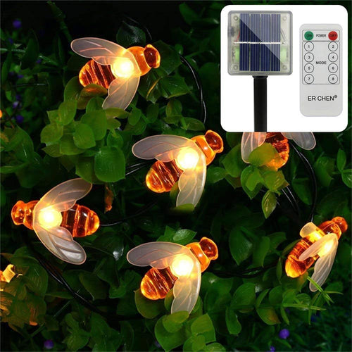Remote Control Solar Powered String Lights, 30 Cute Honeybee Led Lights ER CHEN