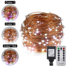 Load image into Gallery viewer, Dual-Color LED String Lights, 66 FT 200 LEDs Plug in Copper Wire 8 Modes ER CHEN