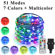 Load image into Gallery viewer, 51 Modes 7 Colors + Multicolor New LED string light, ER CHEN 33 FT 100 Upgraded RGB LEDs