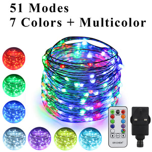 51 Modes 7 Colors + Multicolor New LED string light, ER CHEN 33 FT 100 Upgraded RGB LEDs
