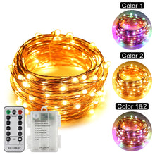 Load image into Gallery viewer, Battery Powered Dual-Color Led String Lights ER CHEN, 33FT 100 Leds Color Changing Dimmable 8 Modes
