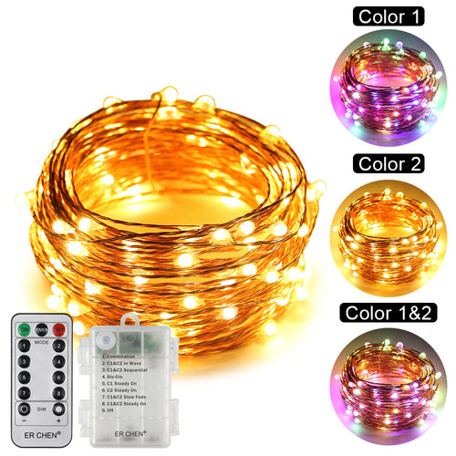 Battery Powered Dual-Color Led String Lights ER CHEN, 33FT 100 Leds Color Changing Dimmable 8 Modes