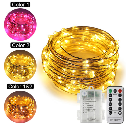 Copper Wire Fairy String Lights ER CHEN, 10M 100 LED 3AA Battery Powered Waterproof Decorative Lights