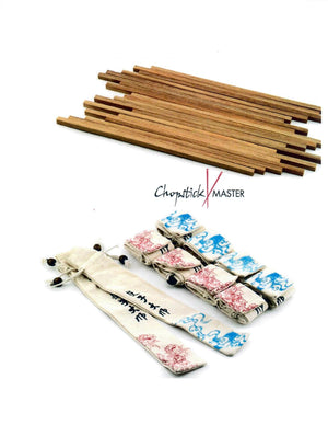 Teak Chopstick Blanks & Sleeves (Set of 10)