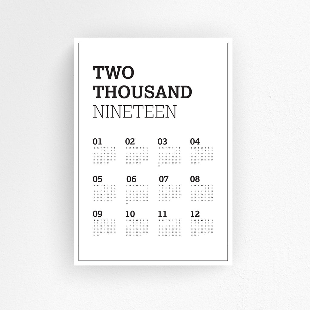 Wall Planner - Two Thousand and Nineteen
