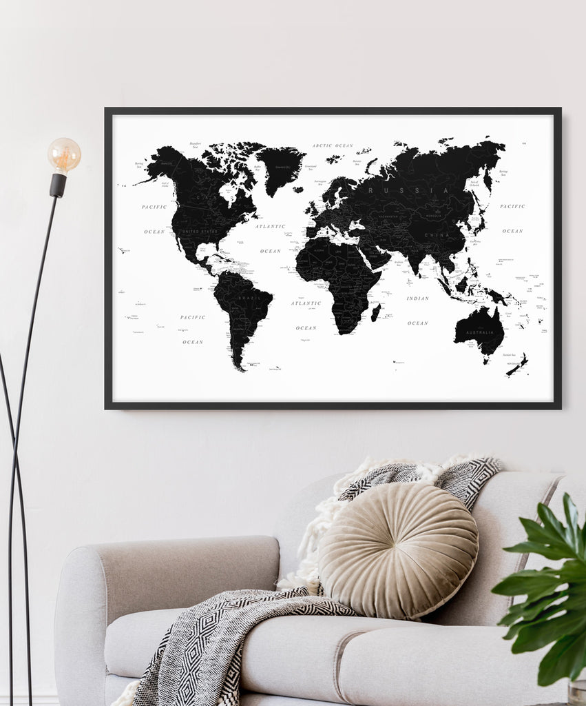 World Map in Black