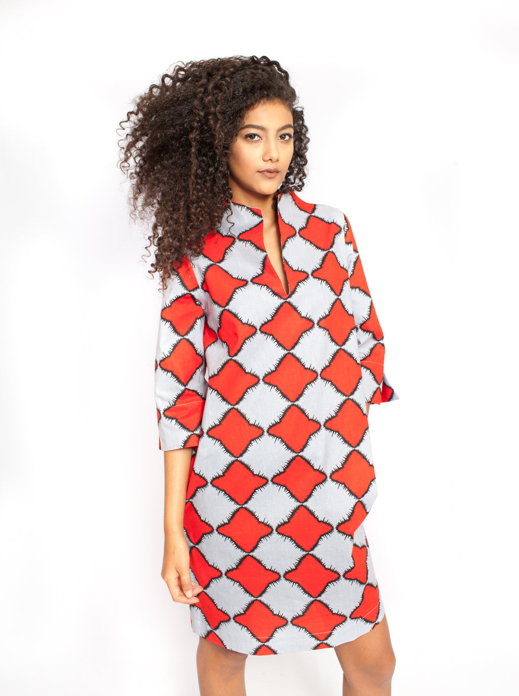 red and white spring dress for women
