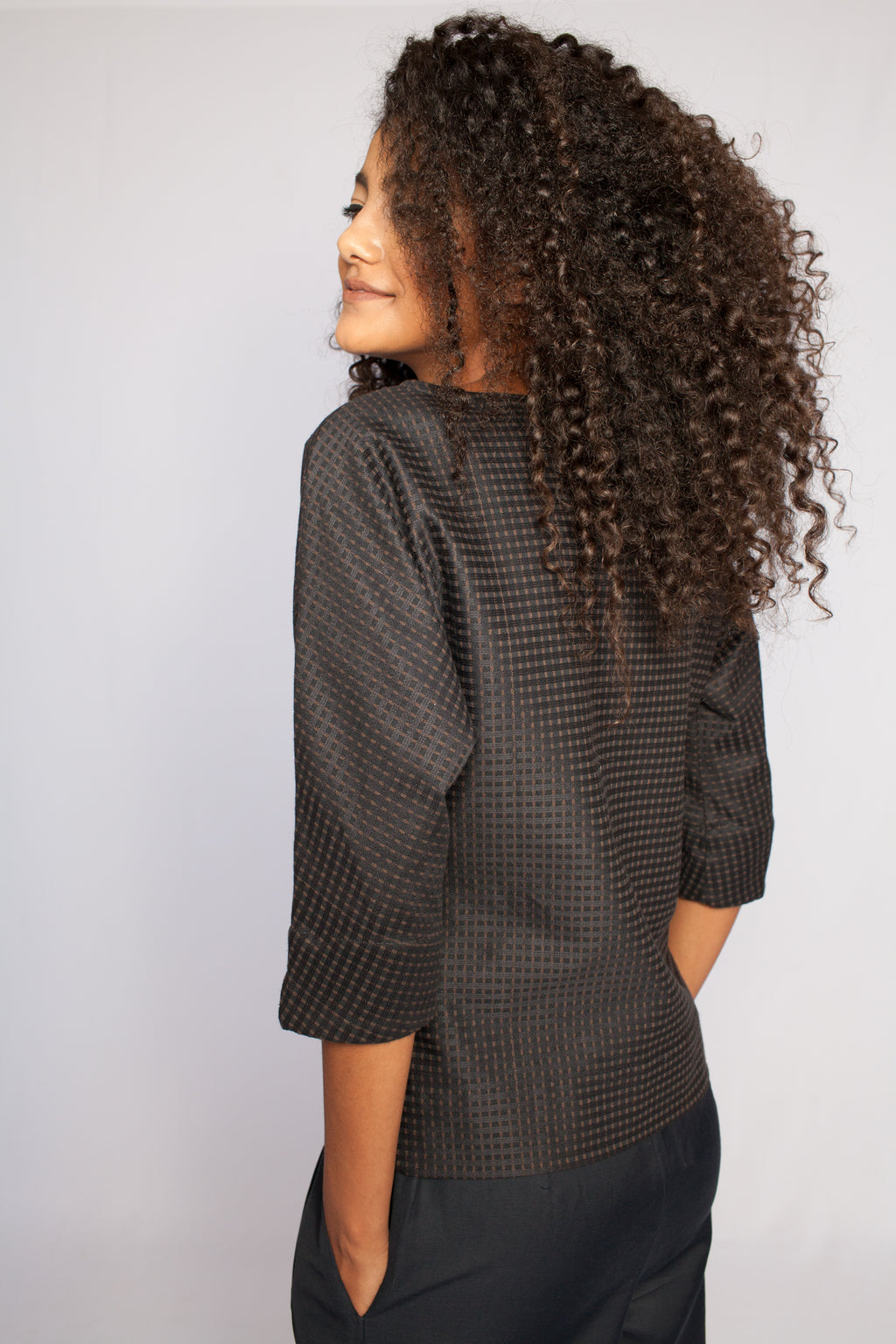 The Amani Blouse Dark Blue Squares