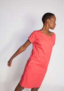 The Marna V-Back Dress Light Crimson