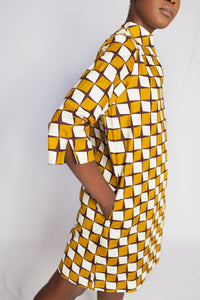 african print yellow dress
