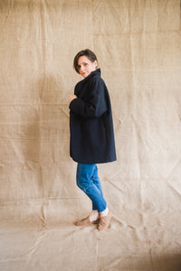 MOYO Egg-shaped, Over-sized Coat Navy