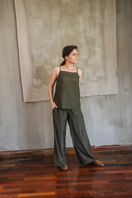 Olive Sleeveless A-Line Top