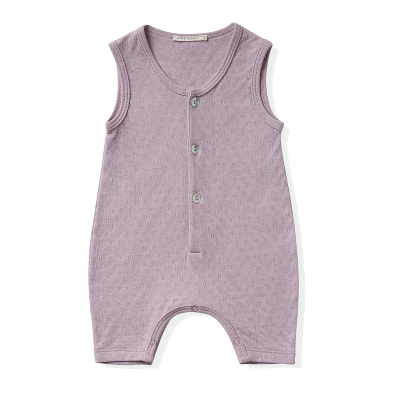 lavender color sleeveless 3 shell buttons henley romper in pointelle ribbed fabric.  100% organic cottton.