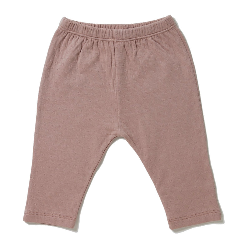 rose color straight leg pointelle ribbed pants with soft encased elastic at waistband.  100% organic cotton.