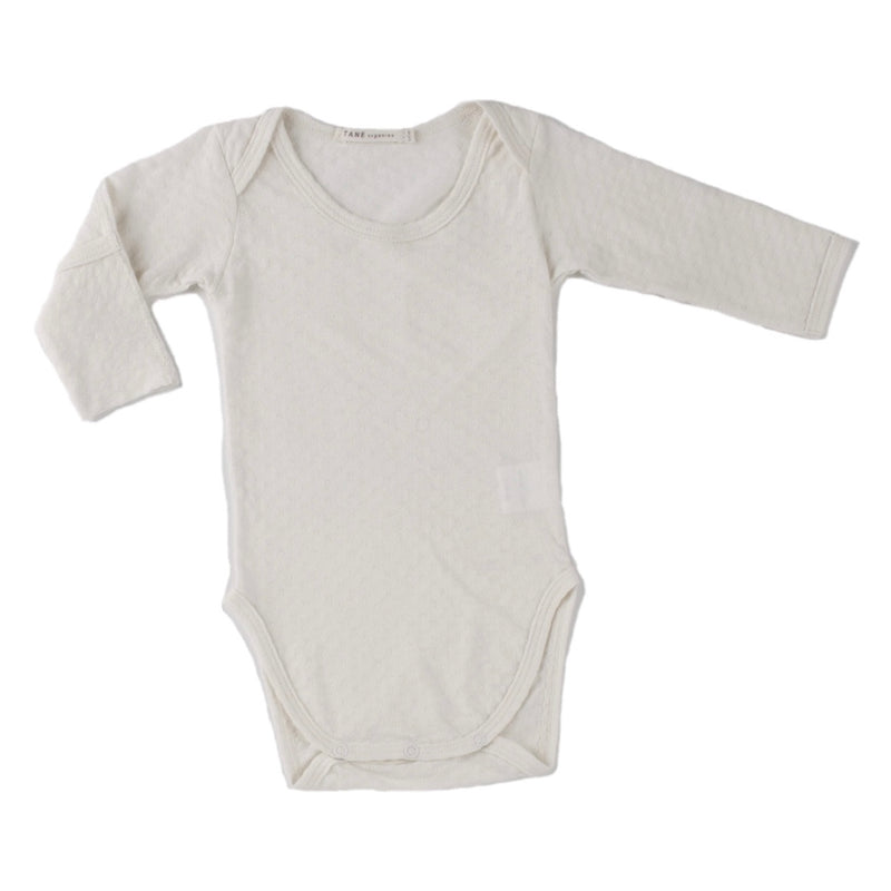 cream color pointelle essential crewneck onesie with handcover.  100% organic cotton.