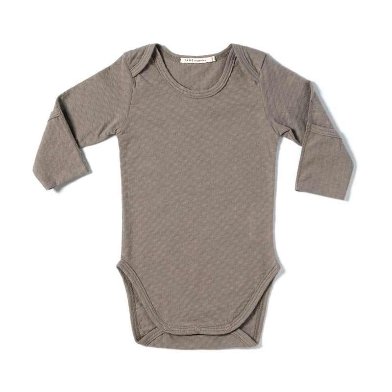 brown pointelle essential crewneck onesie with handcover.  100% organic cotton.
