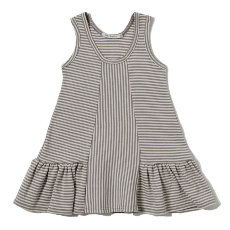 brown and cream color petite stripes sleeveless tank dress with ruffles at hem. Direction play at the center front panel. 100% organic cotton petite stripe knit.