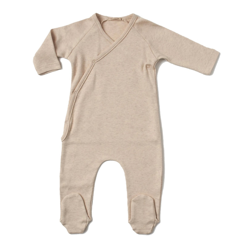 V-Neck Footie in Brushed Heathered Knit