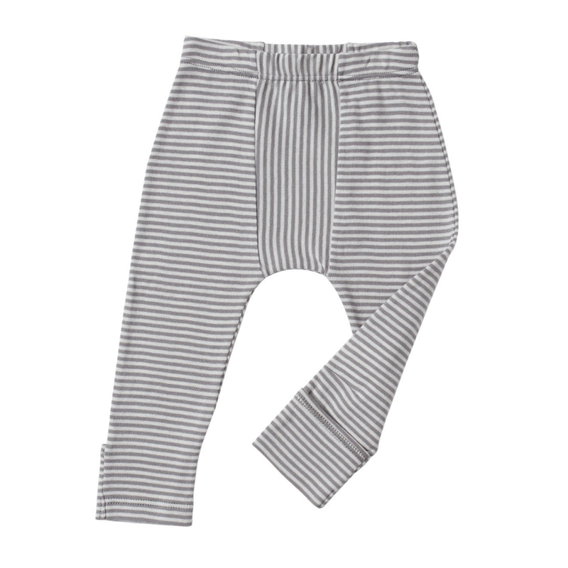 cool grey and cream color petite stripes leggings with feet covers.  Direction play at center.  Soft elastic waistband and slim fit.  100% organic cotton petite stripe knit.