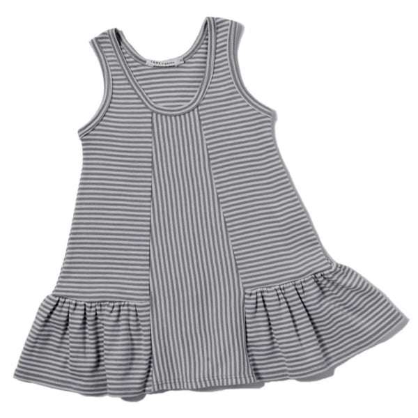 cool grey and cream color petite stripes sleeveless tank dress with ruffles at hem.  Direction play at the center front panel. 100% organic cotton petite stripe knit.