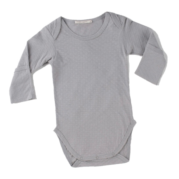 cool grey pointelle essential crewneck onesie with handcover.  100% organic cotton.