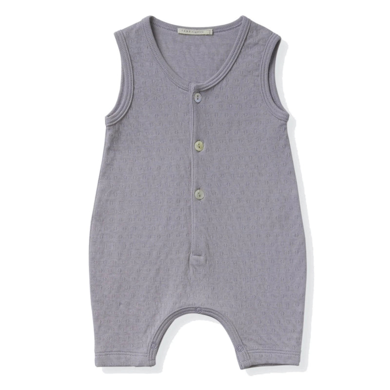 cool grey sleeveless 3 shell buttons henley romper in pointelle ribbed fabric.  100% organic cottton.