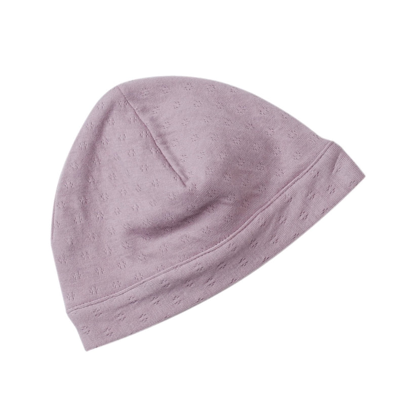 lavender color pointelle double layered skull cap for newborn.  100% organic cotton.