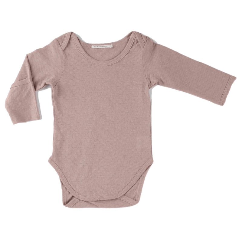 rose color pointelle essential crewneck onesie with handcover.  100% organic cotton.