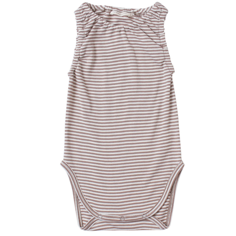 brown and cream color petite stripes on a sleeveless crewneck onesie with soft encased elastics at neck and armhole trim. 100% organic cotton petite stripe knit.