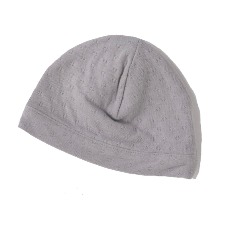 cool grey pointelle double layered skull cap for newborn.  100% organic cotton.