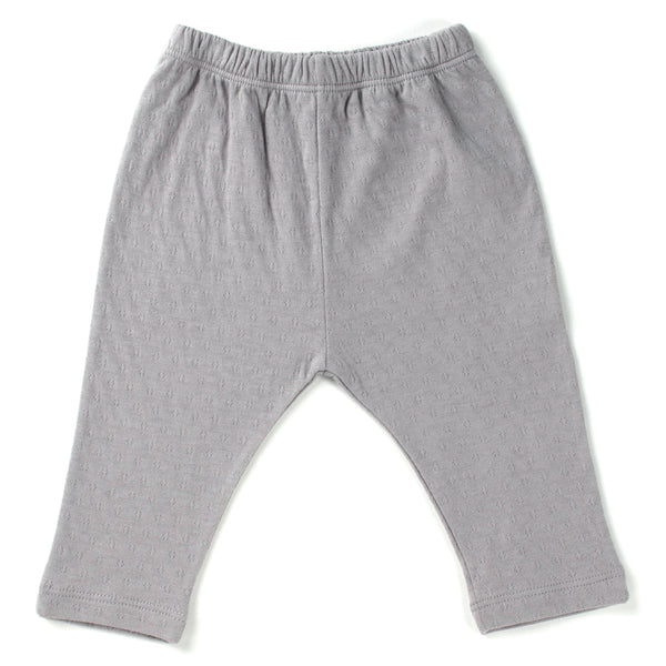 cool grey straight leg pointelle ribbed pants with soft encased elastic at waistband.  100% organic cotton.