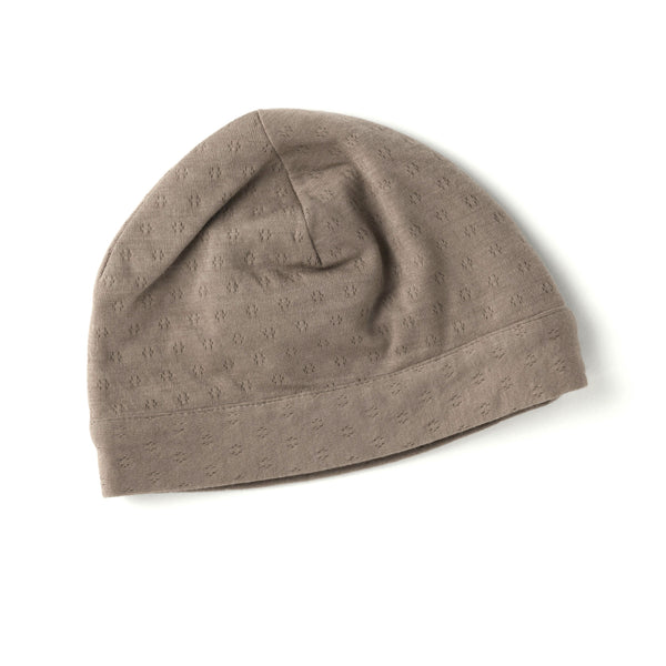 brown pointelle double layered skull cap for newborn.  100% organic cotton.