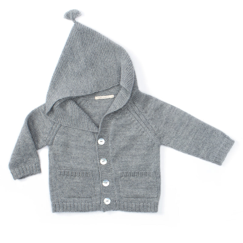 cool grey cardigan with a stylish hood, tassels on top, has natural shell buttons, perfect cardigan for winter, 2 pockets in the front, handmade with 100% melanged alpaca