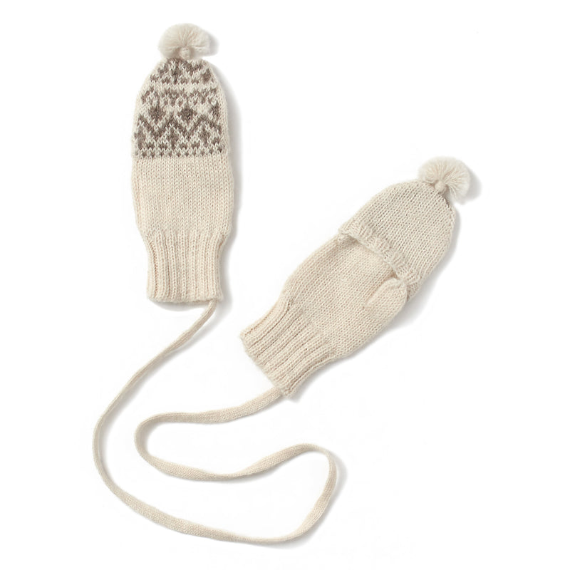 soft white mittens knitted in fair isle pattern, string attached together, tassel on top, fingerless with flap cover, handmade in 100% baby alpaca