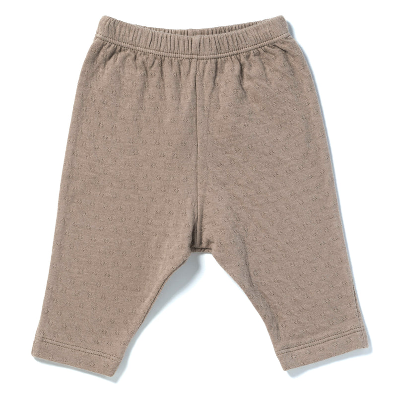 brown color straight leg pointelle ribbed pants with soft encased elastic at waistband.  100% organic cotton.