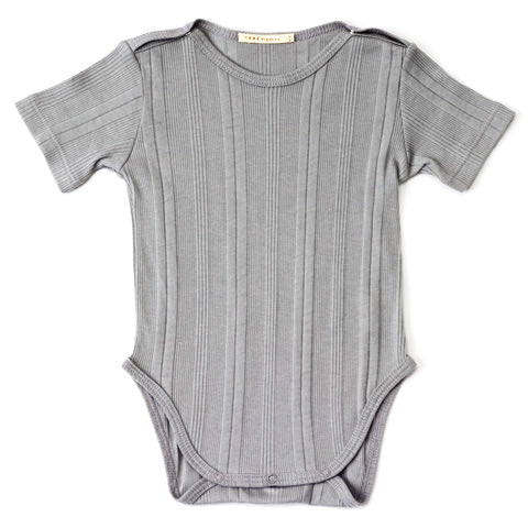cool grey multi ribbed knit short sleeved crewneck onesie with shoulder snaps.  100% organic cotton ribbed knit.