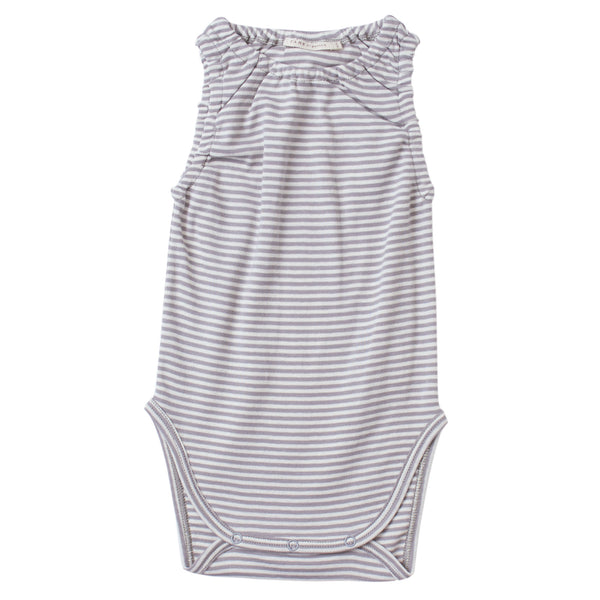 cool grey and cream color petite stripes on a sleeveless crewneck onesie with soft encased elastics at neck and armhole trim.  100% organic cotton petite stripe knit.