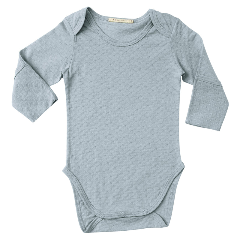 mint color pointelle essential crewneck onesie with handcover.  100% organic cotton.
