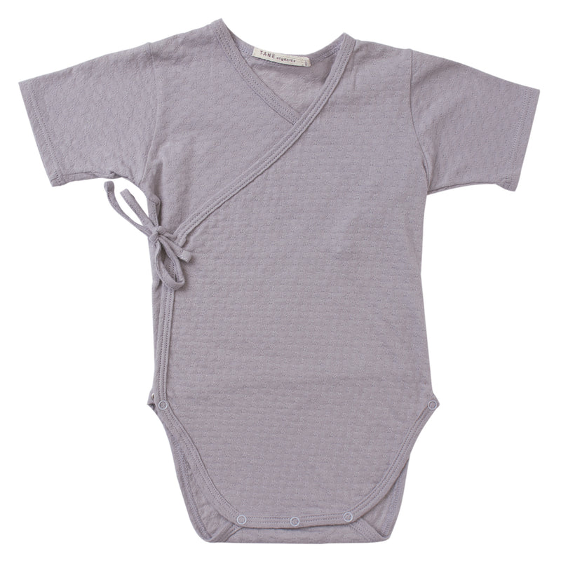 cool grey pointelle short sleeved double front kimono wrap onesie.  100% organic cotton.